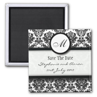 Black and White Damask Monogram Save The Date Square Magnet