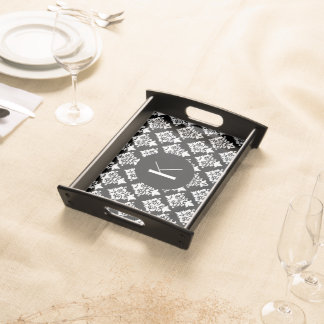 Black and White Damask Monogram Serving Tray
