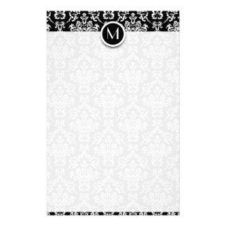 Black and White Damask Monogram Customized Stationery