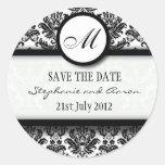 Black and White Damask Monogram Wedding Sticker