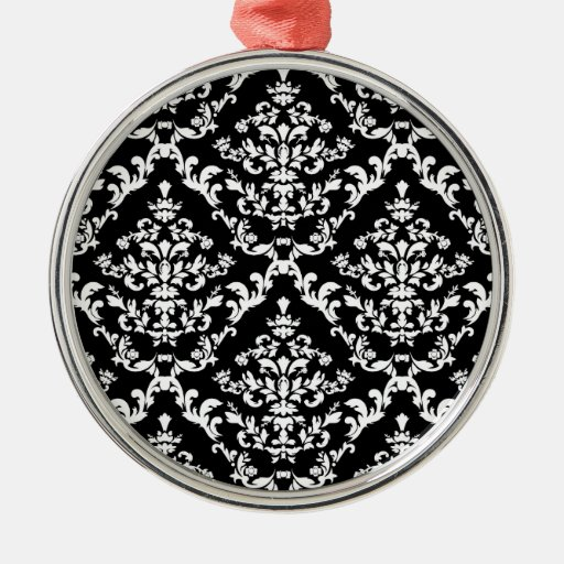 Black and White Damask Pattern Ornaments