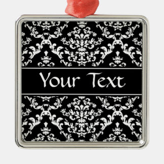 Black and White Damask Pattern Silver-Colored Square Decoration
