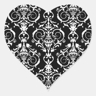Black and White Damask Pattern Heart Sticker