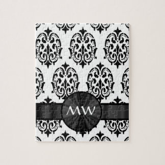 Black and white damask pattern jigsaw puzzle