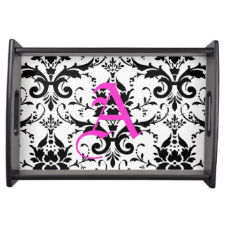 Black and White Damask Pattern Serving Tray