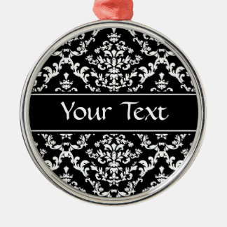 Black and White Damask Pattern Silver-Colored Round Decoration
