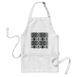 Black and White Damask Pattern Standard Apron