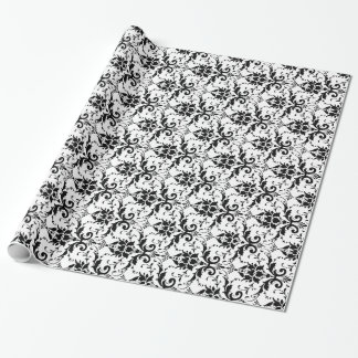 Black and White Damask Pattern Wrapping Paper