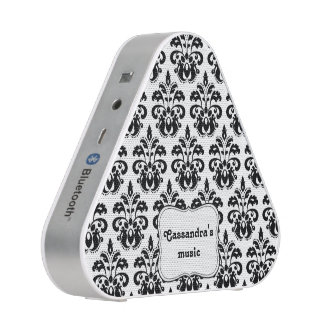 Black and white damask personalized name