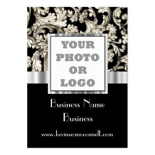 Black and white damask photo logo business card