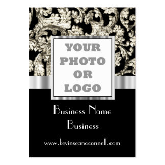 Black and white damask photo logo pack of chubby business cards