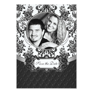 Black and White Damask Photo Save the Date Cards 13 Cm X 18 Cm Invitation Card
