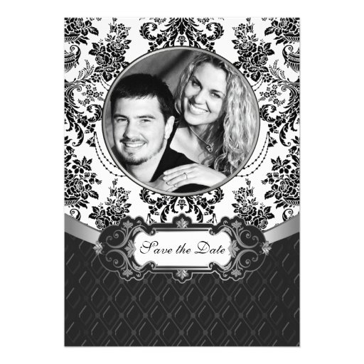Black and White Damask Photo Save the Date Cards Invitations