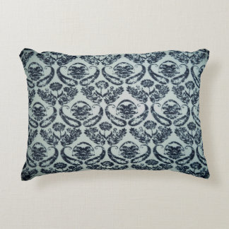 Black and White Damask Polyester Accent Pillow