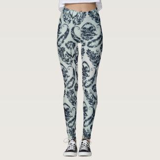 Black and White Damask Print Leggings