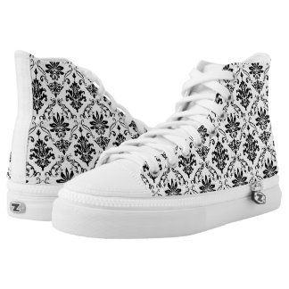 Black and White Damask Printed Shoes