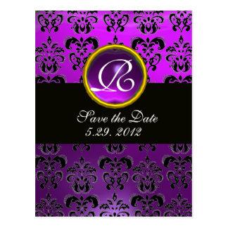 BLACK AND WHITE DAMASK Purple Amethyst Monogram Post Card