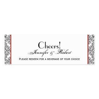 Black and White Damask Red Wedding Drink Ticket Business Card