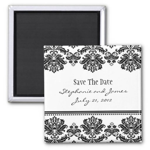 Black and White Damask Save The Date Refrigerator Magnet