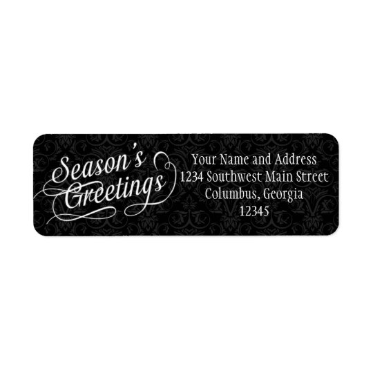 Black and White Damask Season's Greetings Return Address Label