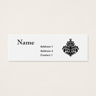 Black and White Damask Skinny Business Card