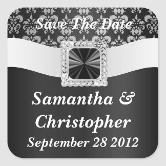 Black and white damask square sticker