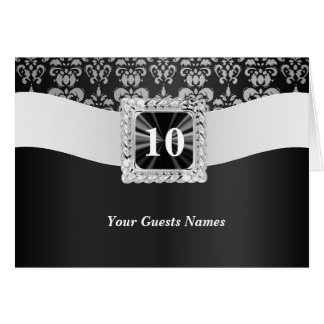 Black and white damask table number