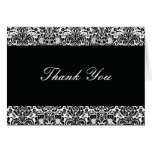 Black and White Damask Thank You Note