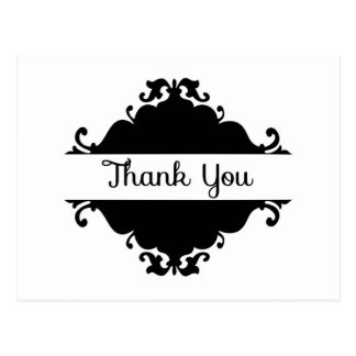 Black and White Damask Thank You Postcard