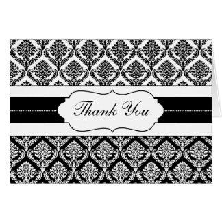 black and white damask ThankYou Cards