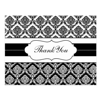 """black and white"" damask ThankYou Cards Postcard"