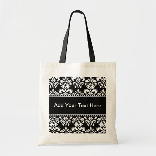 Black and White Damask Tote Bags Customizable