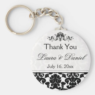 Black and White Damask Wedding Favor Keychain