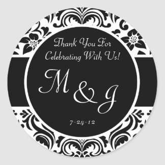 Black and White Damask Wedding Favor Labels Sticker