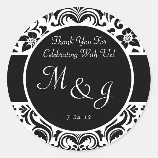 Black and White Damask Wedding Favor Labels Sticker
