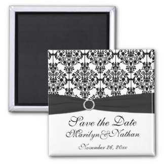 Black and White Damask Wedding Favor Magnet