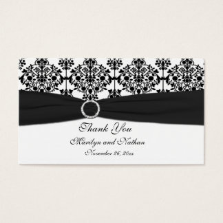 Black and White Damask Wedding Favor Tag Business Card