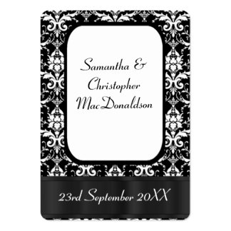 Black and white damask wedding favor thank you tag large business cards (Pack of 100)
