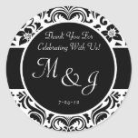 Black and White Damask Wedding Favour Labels Round Stickers