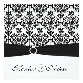 Black and White Damask Wedding Invitation
