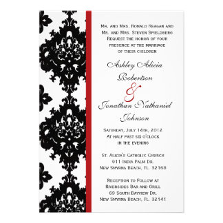 Black and White Damask wedding invite
