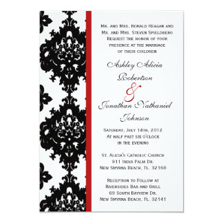 "Black and White Damask wedding invite 5"" X 7"" Invitation Card"