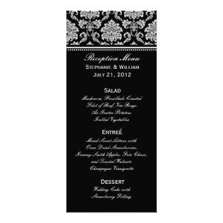 Black and White Damask Wedding Menu Rack Card