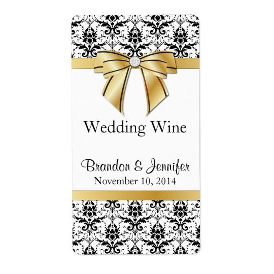 Black and White Damask Wedding Mini Wine Labels