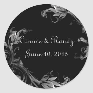 Black and White Damask Wedding Monogram Sticker