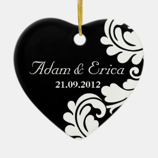Black and white Damask Wedding Ornaments