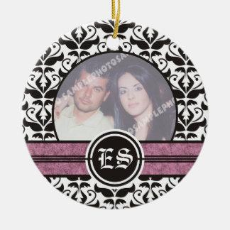 Black and white damask wedding photo ornament