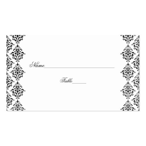 Black and White Damask Wedding Place Cards Business Card