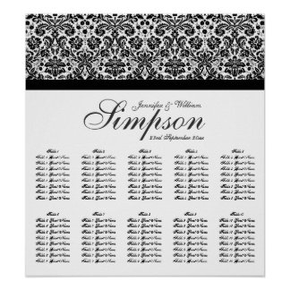Black and White Damask Wedding Seating Chart Poster