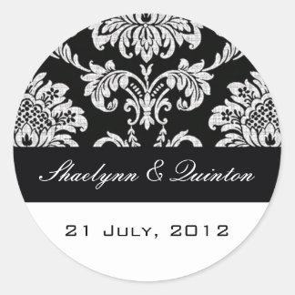 Black and White Damask Wedding Sticker